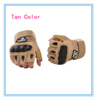 Sports Black Fingerless Military Camping Hunting Cycling Gloves Tan Color