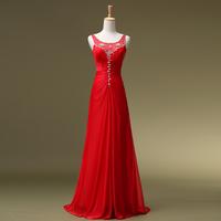 2014 Halter Chiffon Court Train Promotion Dresses Vestido De Festa Longo Formal Dress Married Evening Long Design Redbridalk