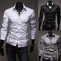 2014 Mens Fashion Shirts Casual Slim Fit Stylish Mens Dress Shirts Black Grey White Plus Size M-3XL