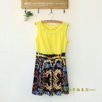 Pearl sleeveless o-neck chiffon zipper one-piece dress one-piece dress clothes female