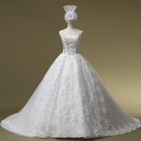 2014 Hot Sale Sweetheart Lace Up Vestidos De Novia The Bride Wedding Dress Formal Luxury Tube Top Long Trailing Hs1052bridalk