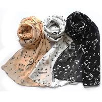 Lady Women Chiffon Wrap Music Musical Note Printed Scarf Shawl Stole Neck Soft[240703]