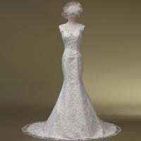 2014 Limited Vestidos De Novia Romantic Vestido Vintage Slit Neckline Bride Slim Waist And Fish Tail Wedding Dress Hs1022bridalk