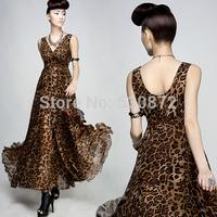 S-M-L-XL 2014 Summer New Women's Dark V-Neck Chiffon Long dress Leopard Print High Waist  Dress Bohemian Beach Dress For women