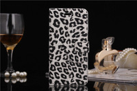 Free Shipping Fashion Leopard Grain book leather flip stand smart cover case for iphone6 4.7inch wallet case
