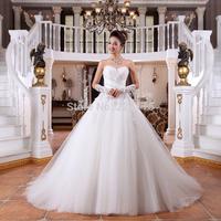 2014 Sweetheart Up Flowers Vestidos De Noiva Wedding Dress Arrival The Bride Formal Bandage Gown Tube Top Plus Size Trainbridalk