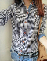 2014 new autumn women's asymmetrical long-sleeve plaid shirt female patchwork cotton blouse shirts free shipping