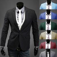 2014 New Mens Casual Blazer Single Button Candy Solid Color Suit for Man 8 Colors Plus Size M-2XL