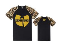 Summer short sleeve loose Wu Tang t-shirt for boy print hip hop tee shirts cheap men's cotton casual plus size tees