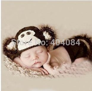 Розничная носок обезьяна шляпу и пеленок покрытия новорожденного набор душ подарок фотография prop baby девушка одежды костюм подарок один набор