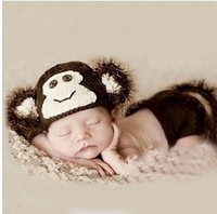 Retail Sock Monkey Hat and Diaper Cover Newborn set Baby Shower Gift- Photography Prop Baby Girl Clothes Costume Gift one set