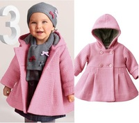 free shipping Children's clothes girls Woolen coat kids long jacket high quality double-breasted coat hooded outfit 2 color