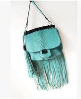 Handbags 2014 new European and American big long tassel packet serpentine shoulder bag bamboo bag laptop bag tide   50% off