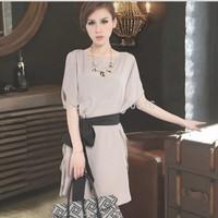 Slim fitting short-sleeved dress for women,chiffon evening dress Free Ship Women Clothing