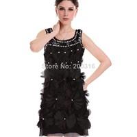 3D stereo big flower handmade beaded gemstone collar vest dress Free Ship Women Clothing