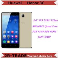 Original HUAWEI Honor 3C 4G FDD LTE Quad Core 5.0'' IPS 1280*720 Mobile Phone 2GB RAM 8GB ROM 8MP Android 4.2 Dual SIM GPS WCDMA