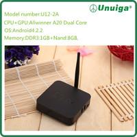 2014 New High Quality Unuiga China band Smart Tv Box Dual Core 1G+8G Android4.2 Tv Box Factory Price