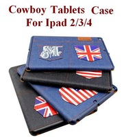 Three Folding Folio Cowboy Case For Apple Ipad 2/3/4 with Sleep/Awake Function Ultrathin Fashion Cozy Four Colors Free Shipping
