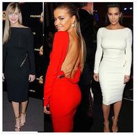 2014 New Fashion Lady Sexy Slash Neck Long Sleeves Open Back Mermaid Long  Evening Dresses White/Black/Red  Hot Sale