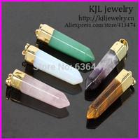 10pcs Newest Natural Gold Plated Gem Pendant Green Aventurine/Amethyst/Rose Quartz/tiger eye/Opal Gem Stone Point Pendant