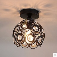 American, wrought iron K9 crystal lamp, absorb dome light sitting room bedroom corridors porch balcony lamp