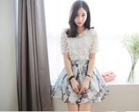 New 2014 Summer Korean Fashion Organza  Ball Gown Skirts womens skirt High Waist Floral Sexy Mini Skirts Free Shipping 8157