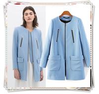 2014 New Brand Women Winter Casual Coat Sobretudo Woollen Casacos Femininos Jacket Pocket Zipper O-Neck Long Trench Cardigans