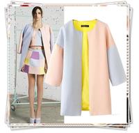 2014 New Women Winter Casual Coat Sobretudo Woollen Casacos Femininos Jacket Patchwork O-Neck 3/4 Sleeve Long Trench Cardigans