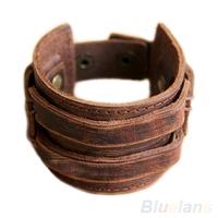 Men's Retro Genuine Leather Buckle Punk Cuff Bangle Wristband Bracelet   03DO