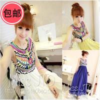 2014 summer new arrival pattern bohemia dress pleated sleeveless chiffon patchwork one-piece dress