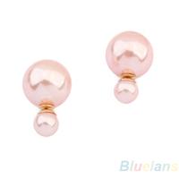 Women's Hot Selling Man Made Double Pearl Earrings Ear Studs 5 Colors  03KV