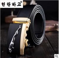 2014 European Man's Fashion Luxury Leopard Automatic Buckle Leather Belts Male Upscale Casual Luxury Genuine Leather Black Belts
