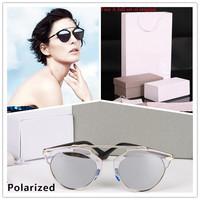 Polarized so real coating sunglasses women Polarized Rihanna 1:1 brand sunglasses women brand designer round Retro glassses