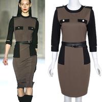 Top Fashion Ladies' Fall Vintage Khaki O-Neck 3/4 Sleeve Patchwork Sheath Slim Zipper Knee-Length Pencil Dress With Belt