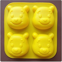 4 Holes winny bear Silicone Cake Decorating Chocolate Modelling Mold Ice Soap Kitchen Cooking Cake Bakeware Tools Free Shipping