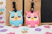 LOVELY 2pcs owl PVC luggage tags/  Travel Name Tag