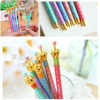 12PCS\LOT Elegant crown color dot patterns gel pen ballpoint pen\FREE SHIPPING