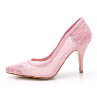 2014 women's fashion high heels lace bridal wedding shoes female point toe dress shoes sy-313