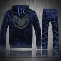 Free Shipping 2014 New Men's Sports Suit Set Fashion Casual Luxury Velvet Stand Collar Italia Brand Tracksuits Costume A0410