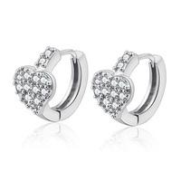 925 sterling silver earrings, heart-shaped multi-gemstone earrings ear clasp, Korean fashion earrings, hypoallergenic