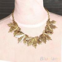 2014 Fashion Women's Retro Vintage Europe Style Retro Stylish Alloy Maple Leaf Necklace  03FR