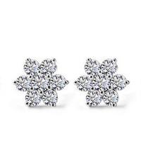 2014 NEW White Snow Flake Earrings 925 Sterling Silver Jewelry For Women Wedding Stud Earrings Free Shipping
