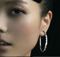 100% Silver 925 Earrings 2014 NEW Sterling Silver Jewelry Female Exaggerated Earrings 50mm Big Hoop Earrings