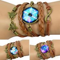 Hot Retro Women Retro DIY Galaxy Pattern Faux Leather Bracelet Butterfly Decoration Wristband  0434