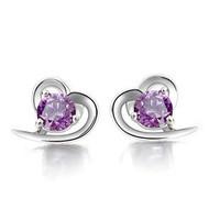 100% 925 Sterling Silver Jewelry Heart-shaped Amethyst Earrings Gemstone Jewelry Sterling Silver Stud Earrings