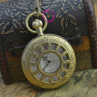 wholesale price good quality new gift for man father retro vintage antique classic bronze copper mechanical pocket watch hour