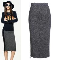 High Quality Women's Pencil Skirts Brief Mixed Color Knitting Cotton Saias Fashion High Waist Slim Body Winter Skirt Gray 9001
