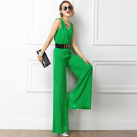 Free Shipping 2014 Women's New Large Size Chiffon Jumpsuit Wide Leg Long Trousers Jumpsuit Women,Overalls,S M L XL 2XL 3XL
