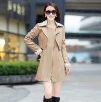NALULA 2014 New Fashion Casacos Femininos Women's Slim Long Design Dress&Coat  2 pieces Trench Coat Winter Coat Women AS1395