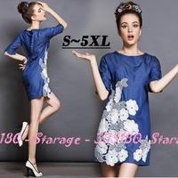S-5XL Brand Embroidery Half Sleeve Knee Length Slim Denim Dresss Women 2014 New Autumn Casual Plus Size Clothing G146